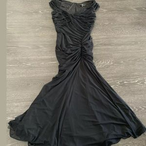 Tadashi Shoji Wide Neck Ruched Gown